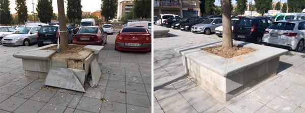 Fotografía de l'abans i el després de la intervenció de la BIR al mobiliari públic
