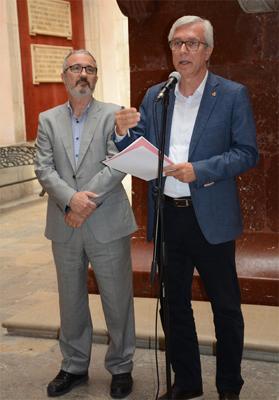 L'alcalde de Tarragona i president d'Ematsa, en funcions, Josep Fèlix Ballesteros (dta.) i Daniel Milan, director gerent d'Ematsa a la roda de premsa de presentació de la II Jornada IDEA