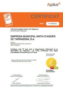 Certificat que acredita el segell de Qualitat - Excel·lència d'Ematsa